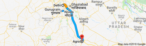 Delhi to Agra Map